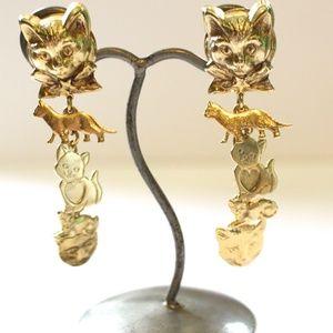 Kirks Folly Vintage Cat Earrings